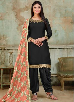 New Arrival Black Designer Patiala Suit