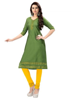 New Arrival Cotton Silk Green Kurti Collection