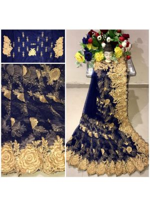 New Arrival Heavy Net Navy Designer Saree
