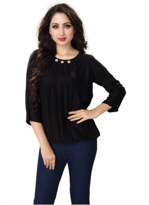 New Arrival Khadi Black Color Top For Women