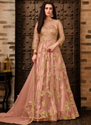New Arrival Light Peach Designer Anarkali Long Salwar Suit