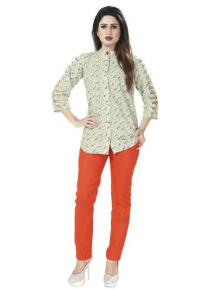 New Arrival Off White Color Women Shirt Fashion