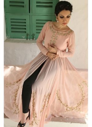 New Arrival Peach Front Cut Suit Pink Lawn Patiyala Salwar Suits