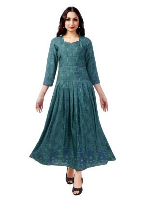 New Arrival Pure Heavy Rayon Blue Kurti Collection