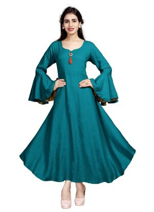 New Arrival Pure Heavy Rayon Green Kurti Collection