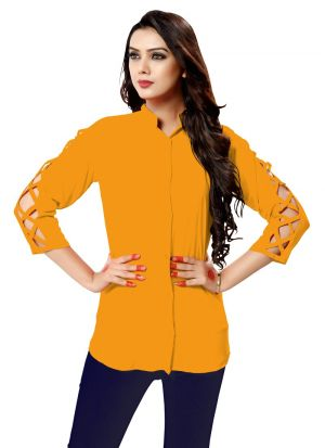 New Arrival Rayon Yellow Color Shirt For Ladies
