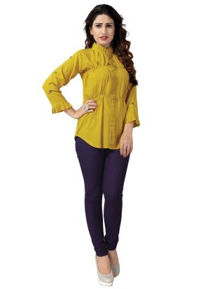 New Arrival Rayon Yellow Color Top For Girl