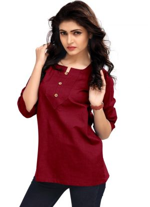 New Arrival Red Color Women Top Fashion