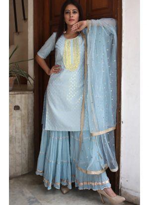 New Arrival Sky Blue Shara Suits Pink Lawn Patiyala Salwar Suits