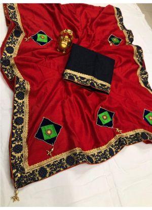 New Collection Vichitra Silk Red Designer Saree