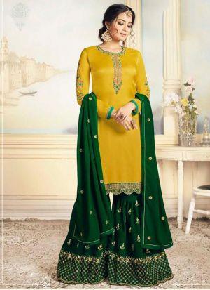 New Indian Traditional Look Yellow Satin Georgette Salwar Kameez