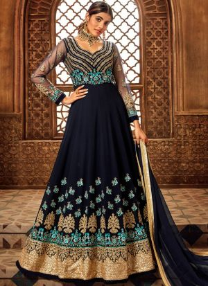New Launching Blue Pure Georgette Wedding Wear Anarkali Suit