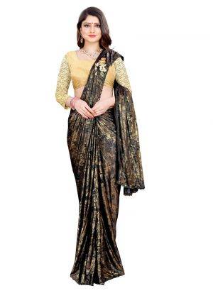 New Launching Lycra Black Saree For Women
