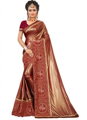 New Launching Maroon Lycra Saree For Women