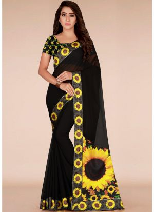Newly Launched Black Georgette Printed Classic Designer Saree