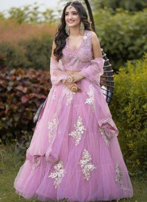 Newly Launched Blush Pink Colour Wngagemenr Wear Lehenga Choli