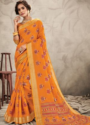 Occasion Wear Orange Chanderi Digital Printed Saree