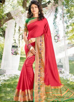 Occasion Wear Red Khadi Silk Thread Work Saree