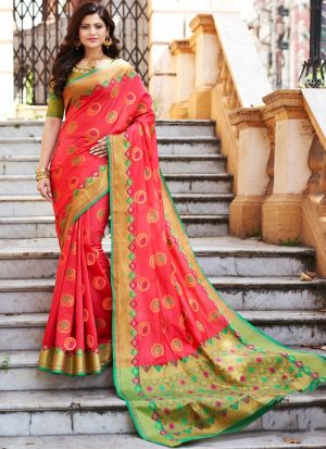 Occasion Wear Salmon Pink Banarasi Silk Thread Work Saree