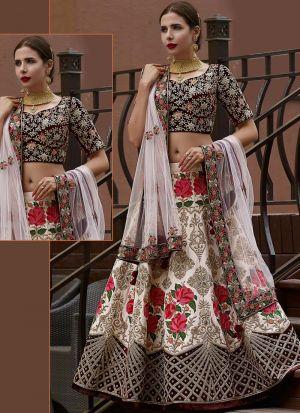 Off White Banglori Silk Designer Lehenga Choli With Thread Work SN 157