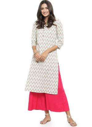 Off White Cambric Designer Kurti For Women