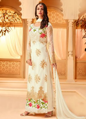 Off White Color Net Embroidered Staraight Pakistani Salwar Kameez For Eid