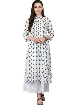 Off White Cotton Flex Designer Kurti For Women