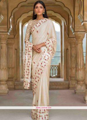 Off White Fancy Thread Work Designer Saree With Blouse SN 150