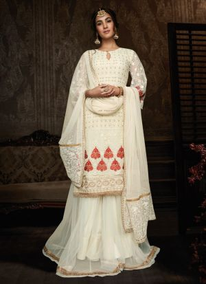 Off White Georgette Bridal Wear Palazzo Suit