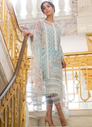 Off White Net Embroidered Staraight Pakistani Salwar Kameez For Eid