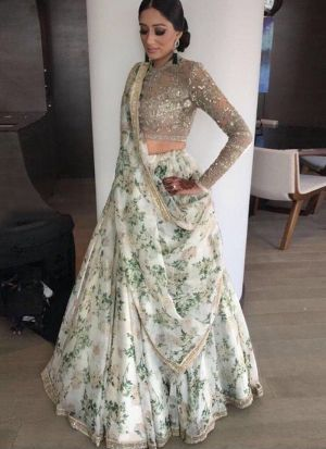 Off White Organza Silk Designer Lehenga Choli With Fancy Thread Work SN 141