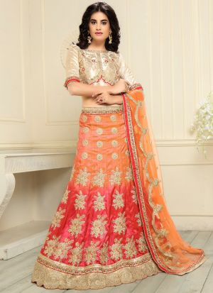 Orange Banglori Silk Traditional Lehenga Choli