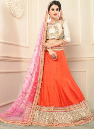 Orange Designer Lehenga Choli For Wedding