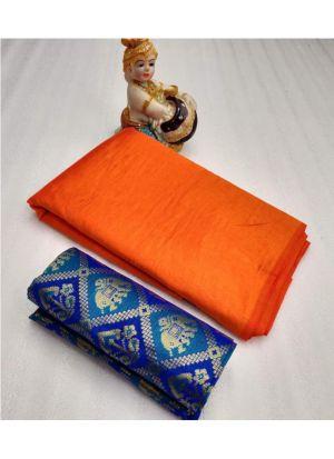 Orange Designer Sarees For Raksha Bandhan Gift
