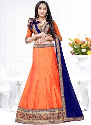 Orange Milano Zari Work Designer Lehenga Choli