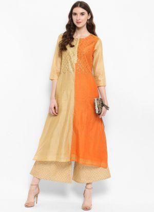 Orange Silk Blend Latest Designer Kurti For Girl