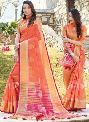 Orange South Indian Wedding Linen Cotton Saree