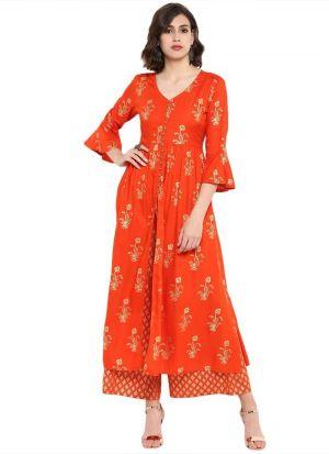Orange Viscose Rayon Designer Long Kurti