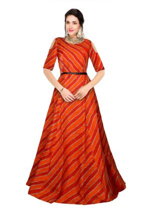 Orange Western Gown Outfit