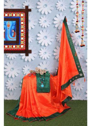 Orange Zoya Silk Solid Designer Traditional Saree