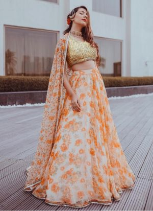 Organza Silk Orange Hit Designer Lehenga Choli