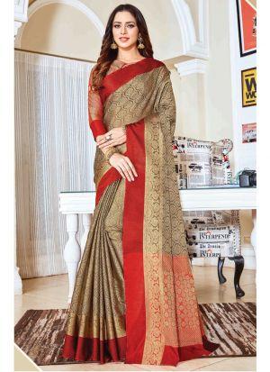 Outstanding Chiku Color Handloom Silk Classic Designer Saree