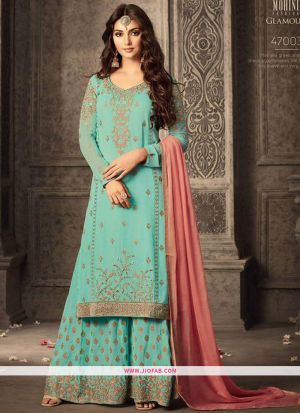 Palazzo Style Rama Embroidered Georgette Indian Salwar Suit