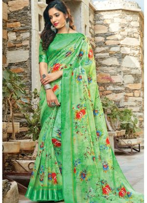 Parrot Color Traditional South Indian Wedding Cotton Saree