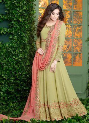 Parrot Foux Georgette Designer Floor Lenth Salwar Suit
