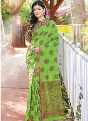 Parrot Women Wedding And Partywear Cotton Handloom Saree