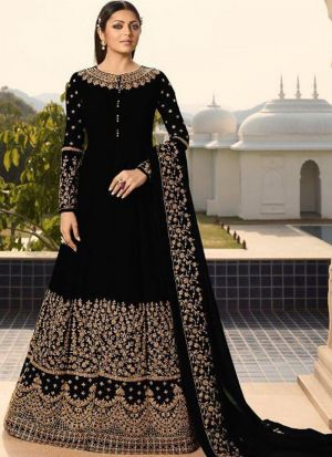 Party Wear Black Faux Georgette Anarkali Style Long Salwar Kameez