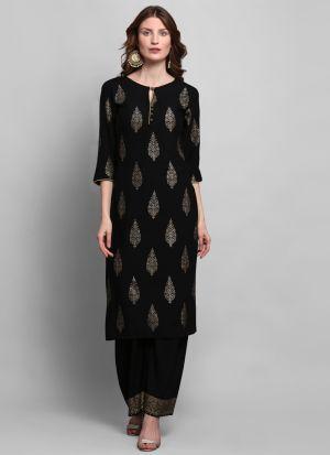 Party Wear Black Foil Print 3-4 Sleeves Kurti