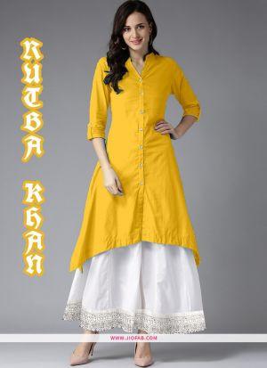Party Wear Fancy Yellow Plain Indian Kurti With Palazzo