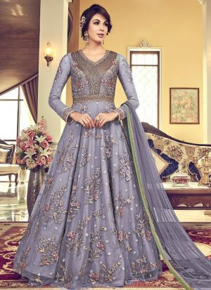 Party Wear Lavender Heavy Net Anarkali Style Long Salwar Kameez